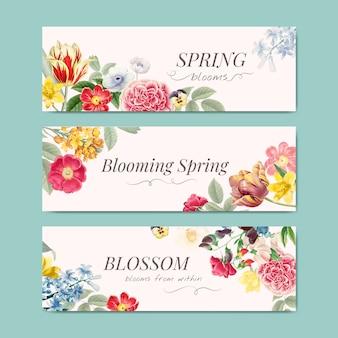 Vecteur de bannière floral printemps fleurit
