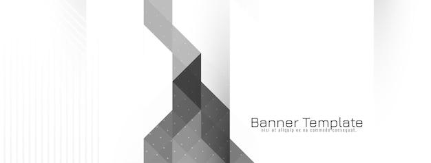 Vecteur de bannière de mosaïque grise et blanche géométrique moderne