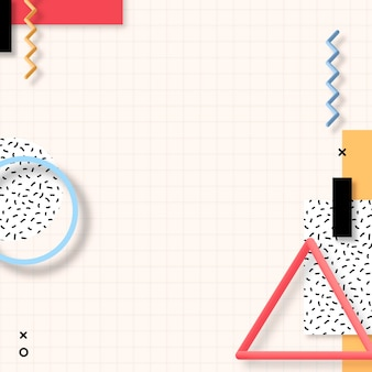 Vecteur de bannière sociale géométrique coloré de memphis