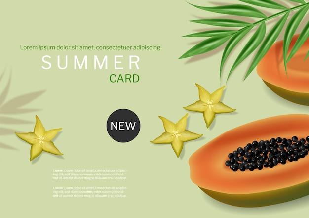 Vecteur de bannière verte d'été de papaye réaliste. arrière-plans des modèles de fruits tropicaux