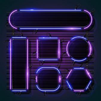 Vecteur de bannière vierge au néon. combinaison de néon violet et bleu.