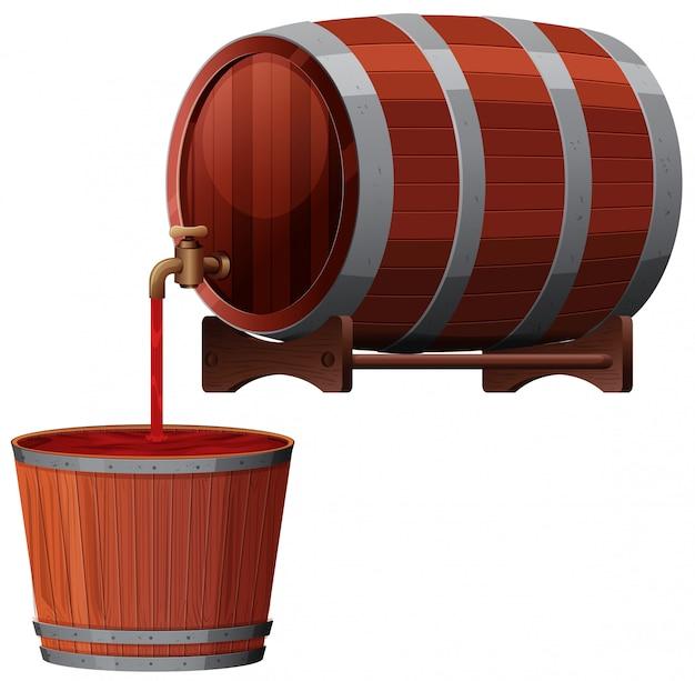 Un vecteur de baril de vin rouge