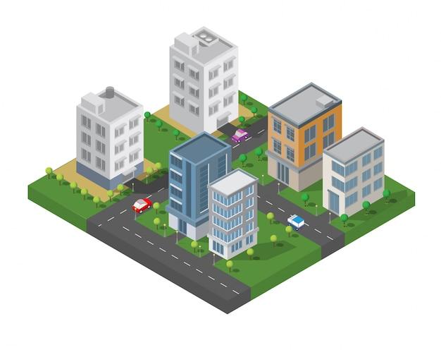 Vecteur de bâtiment isométrique