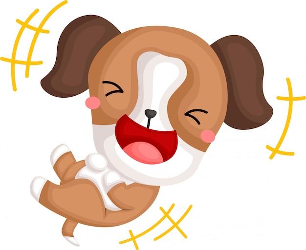Un vecteur d'un beagle qui rit
