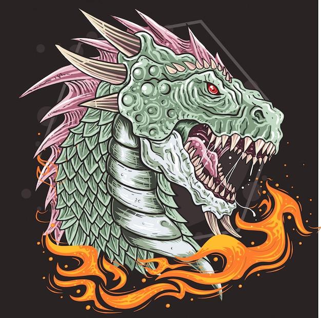 Vecteur de bête de tête de dragon