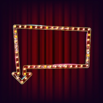 Vecteur de billboard rétro. panneau lumineux de lumière. cadre de lampe réaliste. élément rougeoyant 3d. néon lumineux vintage. carnaval, cirque, style casino. illustration