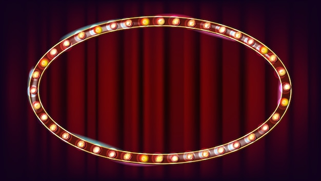 Vecteur de billboard rétro. panneau lumineux de lumière. cadre de lampe shine réaliste. carnaval, cirque, style casino. illustration