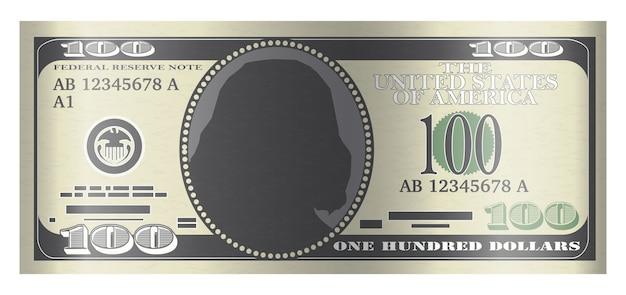 Vecteur de billet de 100 dollars sur fond blanc