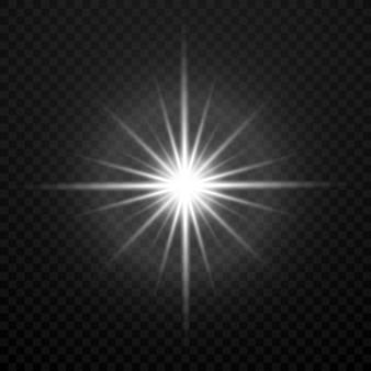 Vecteur blanc éclatant explosion d'explosion étoile brillante lumière transparente isolé sur transparent plaid b
