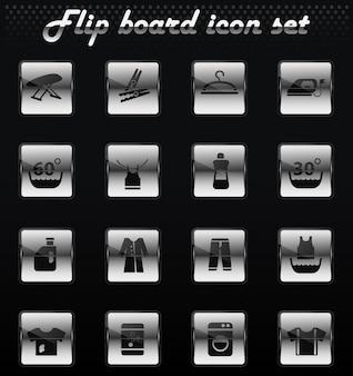 Vecteur de blanchisserie flip icônes mécaniques pour la conception de l'interface utilisateur