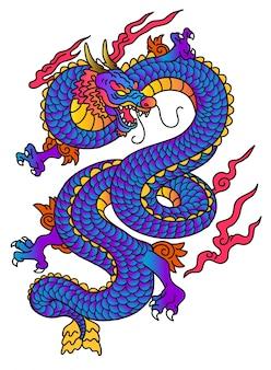 Vecteur bleu dragon de style japonais