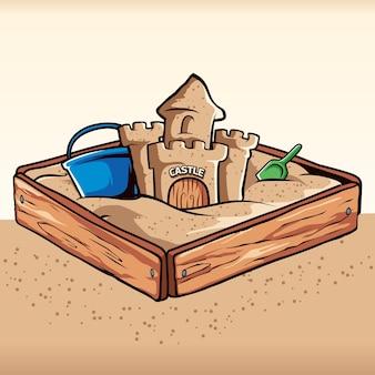 Vecteur de boîte à sable de château de sable