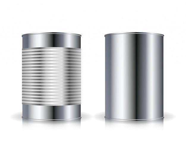 Vecteur de boîtes métalliques. set de boîtes de conserve en métal