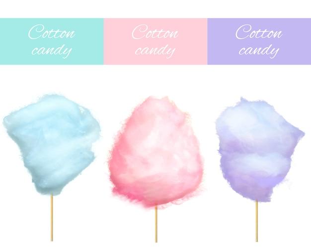 Vecteur de bonbons de coton cerise myrtille et bleuet