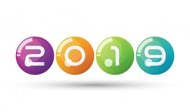 Vecteur bonne année 2019 avec des boules 3d flottantes colorées