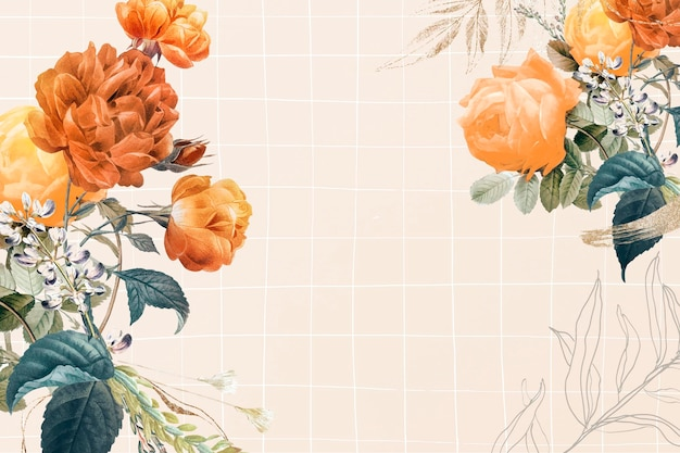 Vecteur de bordure esthétique de fond de fleur, remixé à partir d'images du domaine public vintage