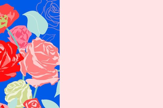 Vecteur de bordure florale mignon avec des roses pastel sur fond rose