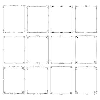 Vecteur de bordures de cadre élégant classique rétro défini pour la conception d'invitation