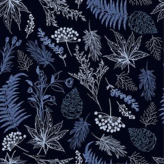 Vecteur botanique dessiné à la main forêt automne bleu