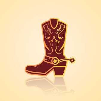 Vecteur de botte de cow-boy avec un design d'ornement doré