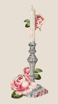 Vecteur de bougie décoré d'une illustration de fleurs, remixé à partir de l'œuvre d'horace reina