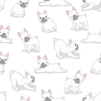 Vecteur de bouledogue français chien modèle sans couture