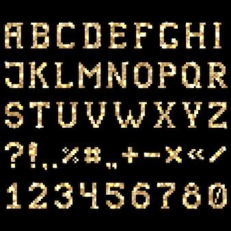 Vecteur brillant police mosaïque dorée