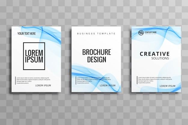 Vecteur de brochure abstraite bleu buisness ondulé vecteur