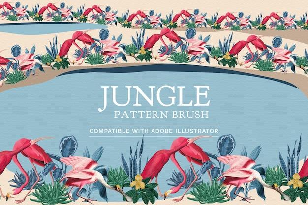 Vecteur de brosse à motif de flamant rose modifiable dans la jungle compatible avec ai