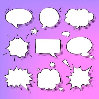 Vecteur de bulle de dialogue dans l'ensemble de style demi-teinte
