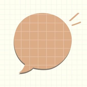 Vecteur de bulle de dialogue dans le style de motif de papier brun grille