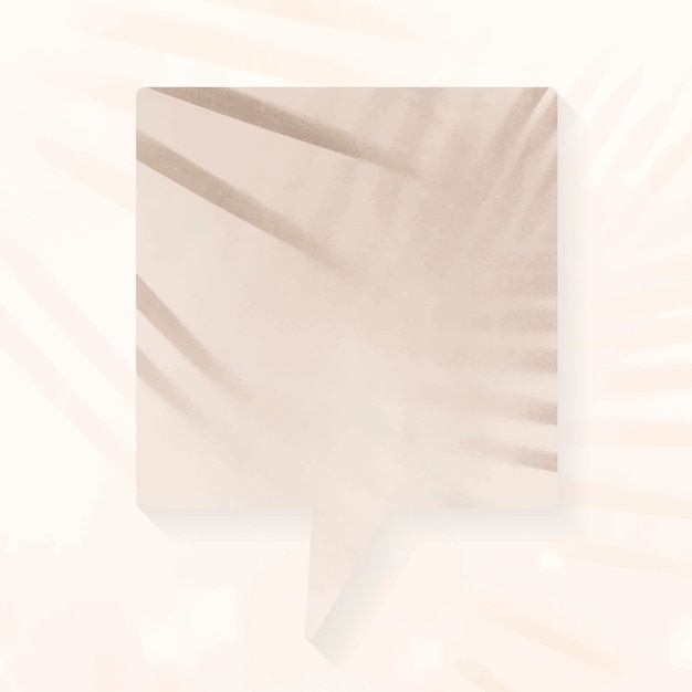 Vecteur de bulle de discours annonce vierge, ombres esthétiques