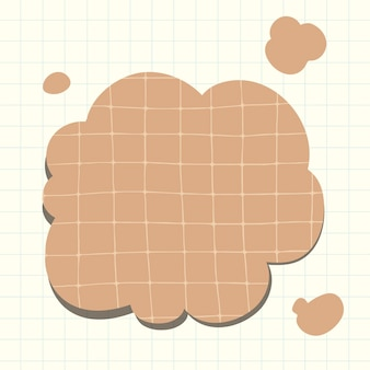 Vecteur de bulle de pensée dans le style de motif de papier brun grille