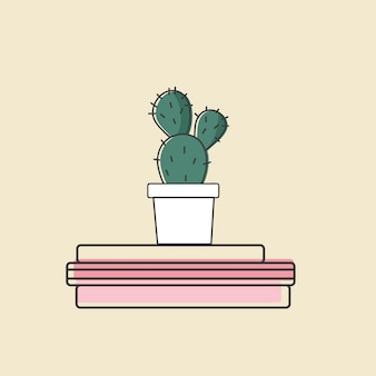 Vecteur de cactus sur les livres