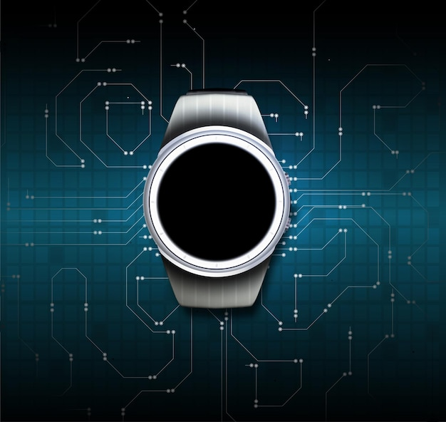 Vecteur de cadran. image du cadran. vecteur de chronographe. vecteur d'horlogerie. montre intelligente couleur noire avec bande de silicone isolée
