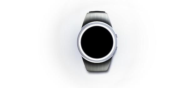 Vecteur de cadran. image du cadran. vecteur de chronographe. vecteur d'horlogerie. montre intelligente couleur noire avec présentation isolée de bande de silicone