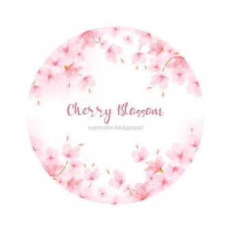 Vecteur de cadre aquarelle floral fleur de cerisier