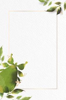 Vecteur de cadre aquarelle insecte feuille