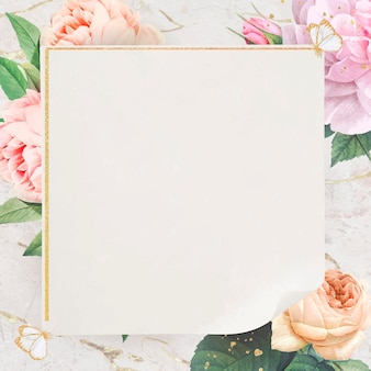 Vecteur de cadre carré doré floral
