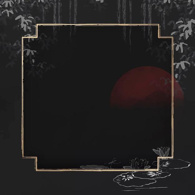 Vecteur de cadre carré doré vierge