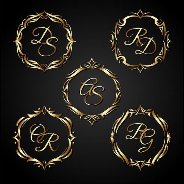 Vecteur de cadre de cercle d'or de luxe