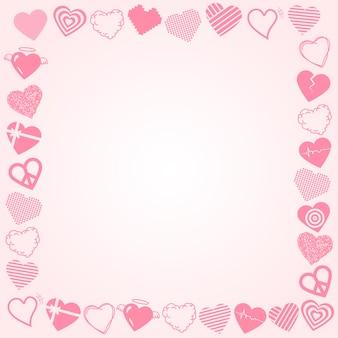 Vecteur de cadre coeur mignon, conception de frontière de jour de valentine