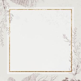 Vecteur de cadre corail carré doré