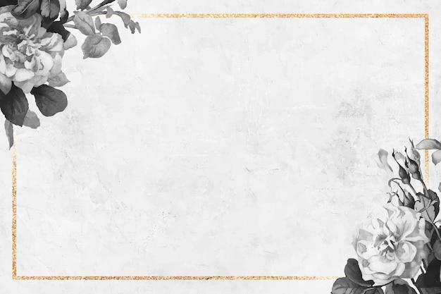Vecteur de cadre doré floral blanc