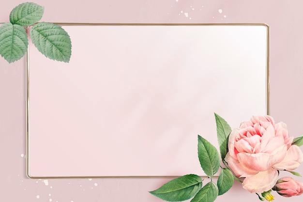 Vecteur de cadre doré rectangle floral