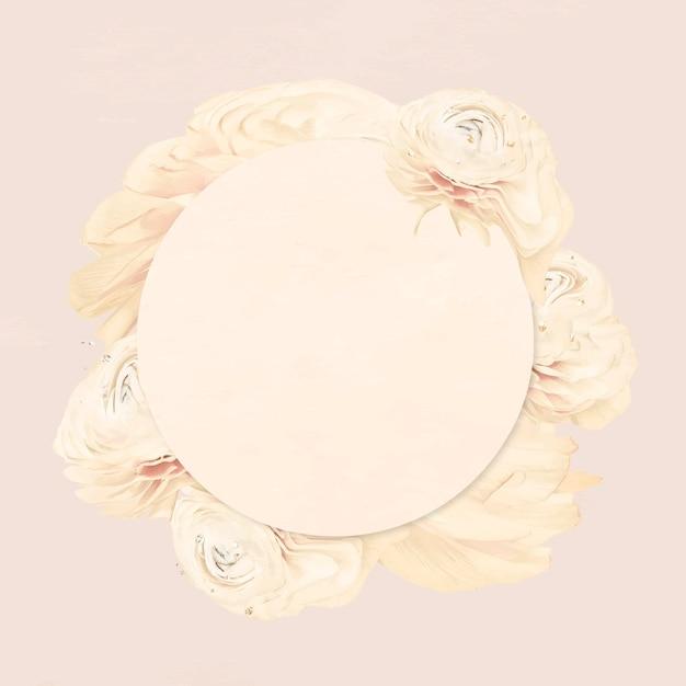 Vecteur de cadre de fleur, art abstrait de renoncule beige