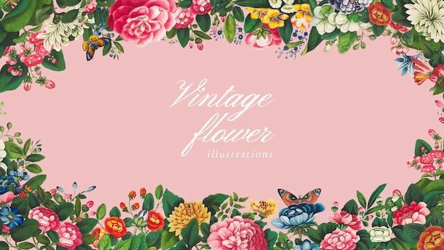 Vecteur de cadre de fleurs chinoises mélangées vintage