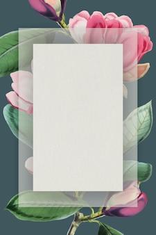 Vecteur de cadre floral floraison rose