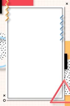 Vecteur de cadre géométrique coloré memphis
