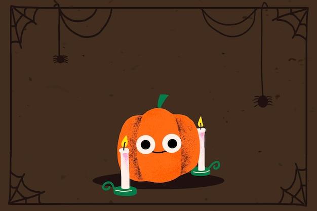 Vecteur de cadre halloween, citrouille jack-o'-lantern mignon